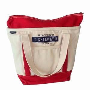 Lands End canvas tote cream red zip top pockets